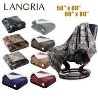 Reversible Flannel/Sherpa/Faux Fur Fleece Soft Cozy Warm Plush Throw Blanket US
