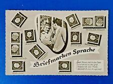 More details for vintage 1962 german stamp postcard, briefmarken sprache, stamp language pf5