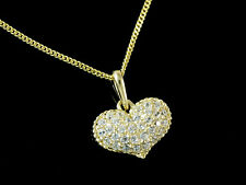 333 Gold kleiner Herz Anhänger mit Goldkkette mit Zirkonia Steinen 12 x 10,5 mm