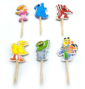 SESAME STREET Birthday Party CAKE or CUPCAKE TOPPERS 12 cardstock pick
