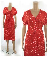 ex Hobbs Red Polka Dot Button Through Pockets Belt Cupro Midi Tea Dress