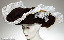 Pirate Hat Ladies Pretty Brown Velvet & Lace Wide Brim Costume Hat OS