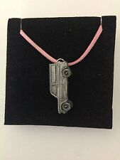 Car on a Pink Cord Necklace 41Cm Ford Anglia 105E Van ref71 Pewter Effect