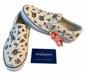 Vans Classic Slip On (Ditsy Floral) Cream Canvas Shoes Sz 9 Women's NIB New 🔥