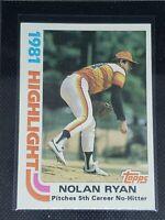 1982 Topps Baseball NOLAN RYAN #5 Houston Astros HIGHLIGHT 5th NO HITTER
