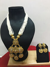 Indian Bollywood Gold Plated Wedding Bridal Pearl Fashion Jewelry Necklace Set