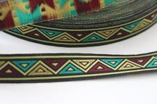 red gold yellow green black navajo aztec ribbon trim 16mm wide 2m 2 metres