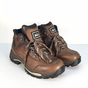 REI 7909 M Brown Leather Waterproof Women Backpacking Ankle Boots Size 10.5M