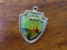 Sailboats Travel Shield charm #E13 Vintage silver Jacksonville Florida Beach