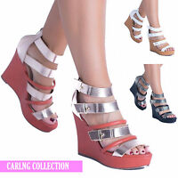 LADIES HIGH HEEL WEDGE BUCKLE BOOTS WOMENS STRAPPY CUT OUT PLATFORM SHOES SIZE