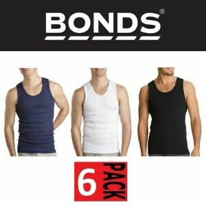 MENS BULK BONDS 6 PACK SINGLET Chesty in Navy White Black Cotton Vest Size S-4XL