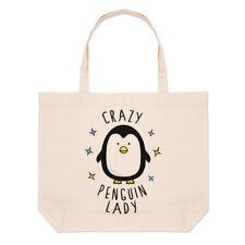 Crazy Pingüino Dama Bolsón Bolso de Playa Grande-Shopper Hombro animales graciosos