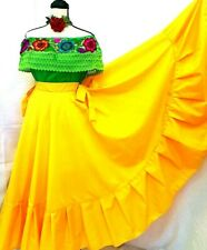 Mexican Green Yellow Dress 2pc Floral Embroidery Peasant Wedding One Size Vtg