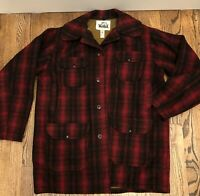 WOOLRICH Mackinaw VTG Mens 44 Red Buffalo Plaid Wool Hunting Jacket 6 Pocket 503