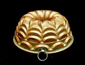 Antique Copper Jello or Pudding Mold Art Deco Geometric