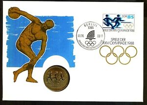 GERMANY EAST DDR 1988 Olympic Games Coin Cover Masterfile Berlin PMK