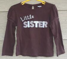 Gymboree Girls Best Friend 3T LITTLE SISTER Brown Blue Polka Dot TEE Shirt Top