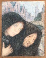 Dessin Ancien Pastel Malo RENAULT (1870-1938) Portrait Symboliste Femmes Paysage
