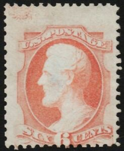 US # 148 Var *UNUSED NG H* { INK BLOB ON TOP /EFO } 6c LINCOLN OF 1870 W/ A THIN