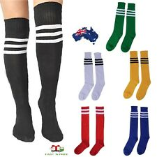 Men Women Sport Knee High Socks Striped Tube Socks Football Soccer