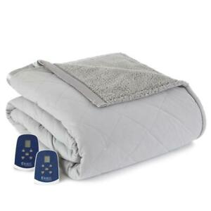 Micro Flannel Electric Heated Quilted Blanket Queen-Size Sherpa/Reverse Gray
