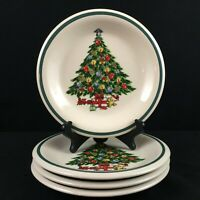 Set of 4 VTG Salad Plates by Mount Clemens Pottery Christmas Tree Holiday Green