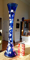 "Extra Tall 18"" COBALT BLUE GLASS VASE White Leaf Leaves Gold Stems Vintage Vtg"