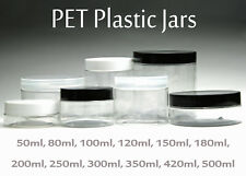 Empty PET Jars - Clear Jars and White Black Clear Plastic Screw Lids 50ml-500ml