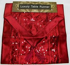 """Bourgogne rouge sequin satin style table runner qualité Casablanca polyester 13x72 """""""