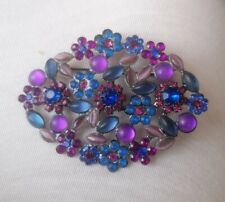 Purple Stones, Mix of Bright & Cloudy Beautiful Big Flower Brooch, Blue, Pink &