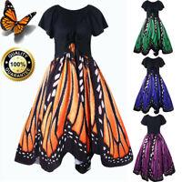 2019 Summer Womens Casual Butterflies Print Short Sleeve Retro Swing Dress HQY