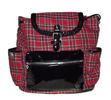 New Red Black white plaid Backpack Bookbag handbag bag School work tote purse
