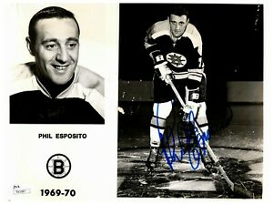 Phil Esposito Boston Bruins Vintage Autographed Signed 8x10 B&W Photo JSA COA
