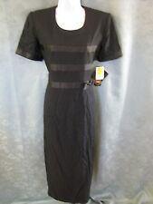 Vintage 90's Virgo II Dress Size 8 Long LBD Ribbon Trim Faux Wrap Skirt Modest
