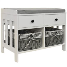 Shoe Storage Bench with Two Drawers and Baskets - White / Grey BA2092