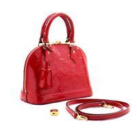 b44 Louis Vuitton Authentic Alma BB Red Monogram Vernis Bag HandbagM91698