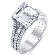 2.45 Ct Emerald Cut Diamond Engagement Ring w/ Round Cut Pave G,VS1 EGL 14K Gold