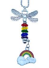 Rainbow Car Charm Ornament Dragonfly Suncatcher Purse With Ball Chain