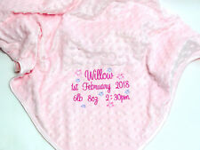 Personalised Embroidered Pink Luxury Bubble Baby Girl Blanket Birth Details