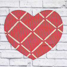 Red Heart Shaped Wall Mounted Fabric Memo Notice Board Vintage Shabby Chic Decor