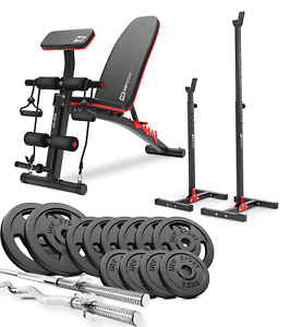Strong Bodybuilding a Bench +SET Iron 76 kg Weights Plates & Bars