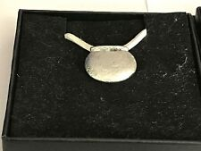 """Couldron With Pot TG12 English Pewter On 18"""" White Cord Necklace"""