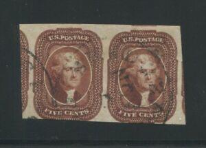 1856 United States Postage Stamp #12 Used Horizontal Pair Certified