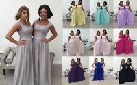 Silver Grey 2 Shoulder Chiffon Lace Bridesmaid Wedding Dress Long Maxi Party Lot