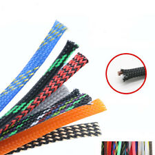 6mm Braided Expandable Cable Loom Auto Tubing Wire Sleeving Sheathing ALL COLOUR