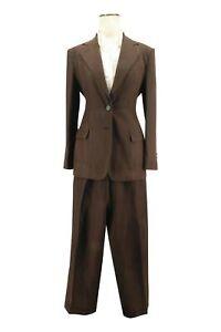 Ralph Lauren Women's Silk & Linen Brown Pleated Front Pants Suite Size 6P