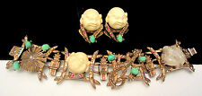 Rare Vtg Signed HAR Jeweled Buddha Coolie Dragon Bracelet & Clip Earring Set A60