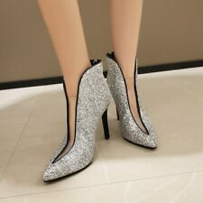US8 Womens Glitter Sequin Pointed Toe V Ankle Riding Boots High Heels Stilettos