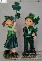 2 NEW ST PATRICK'S DAY IRISH LAD LASSIE ALL DRESSED IN GREEN SHAMROCKS BOY GIRL