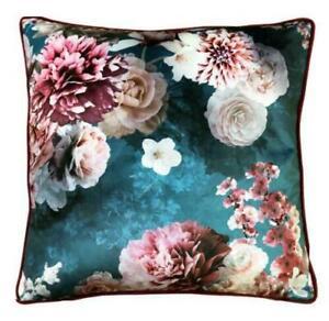 Velvet Satin Cushion Pillow Soft Case Cover Bloom Teal